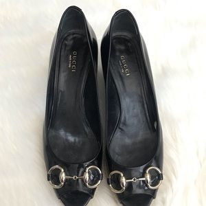 Gucci Shoes - {Gucci} Black Patent Wedges size 39.5 EUR